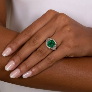 Art Deco 4.69 Carat Fine Emerald and Diamond Ring - GIA F1