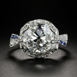 Art Deco 4.97 Carat Cushion Cut Diamond & Sapphire Ring - GIA I SI1 - 2