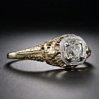 Art Deco .40 Carat Diamond Filigree Ring