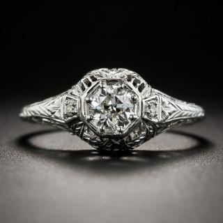 Art Deco .40 Carat Diamond Platinum Engagement Ring - 2