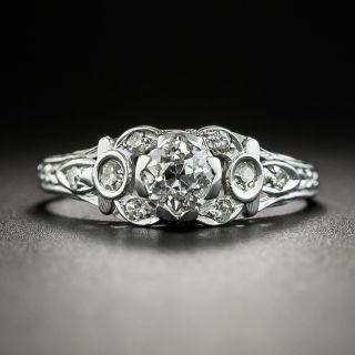 Art Deco .45 Carat Diamond Platinum Engagement Ring - 2