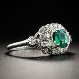 Art Deco .45 Carat Emerald and Diamond Palladium Ring