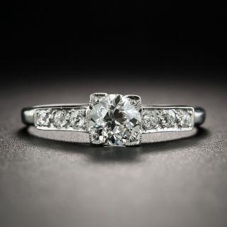 Art Deco .48 Carat Diamond Platinum Engagement Ring - 1