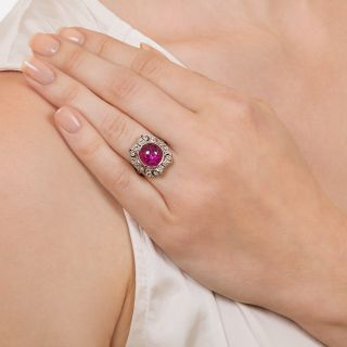 Art Deco 5.08 Carat Star Ruby Diamond Ring