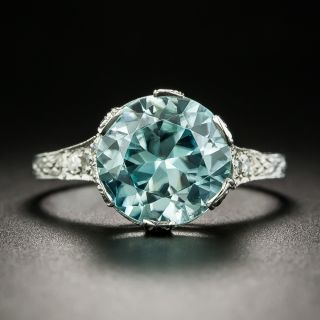 Art Deco 5.55 Carat Blue Zircon and Diamond Ring - 1