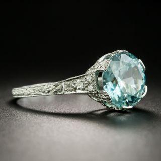 Art Deco 5.55 Carat Blue Zircon and Diamond Ring