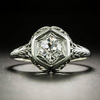 Art Deco .50 Carat Diamond Solitaire Engagement Ring - 2