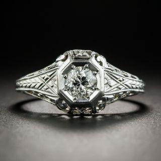 Art Deco .50 Carat Diamond Platinum Solitaire Engagement Ring - 1