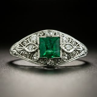 Art Deco .50 Carat Emerald and Diamond Ring - 2