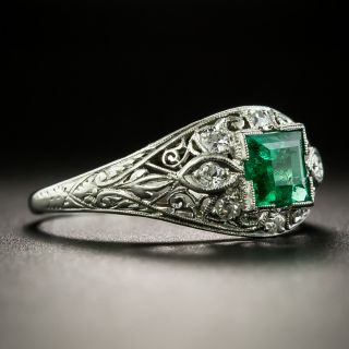 Art Deco .50 Carat Emerald and Diamond Ring