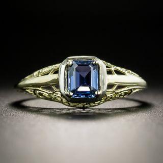 Art Deco .50 Carat Sapphire Filigree Ring - 2