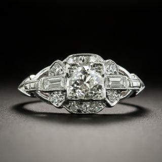 Art Deco .52 Carat Diamond Platinum Engagement Ring - 1