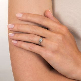 Art Deco .54 Carat Diamond Solitaire Engagement Ring