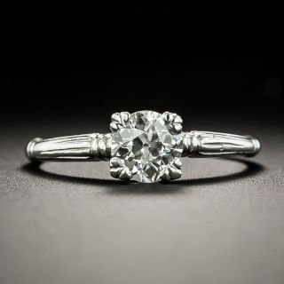 Art Deco .54 Carat Diamond Solitaire Engagement Ring  - 1