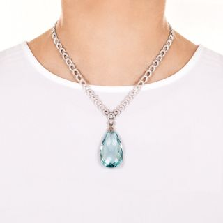 Art Deco 55 Carat Briolette Aquamarine and Diamond Drop Necklace