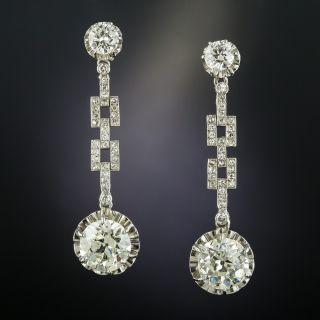 Art Deco 6.00 Carat Total Weight Diamond Drop Earrings  - 2