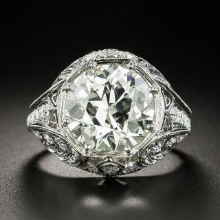 Art Deco 6.04 Carat Diamond Platinum Engagement Ring - GIA  - 1