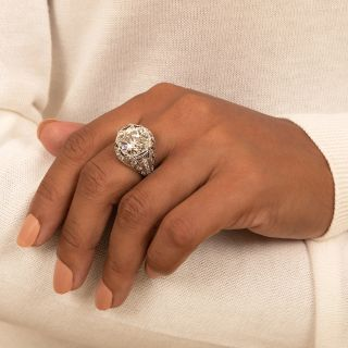 Art Deco 6.04 Carat Diamond Platinum Engagement Ring - GIA