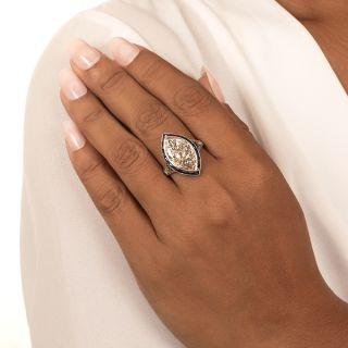 Art Deco 6.48 Carat MarquiseDiamond and Calibre Sapphire Ring - GIA L VS2 Type IIa