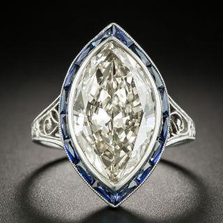 Art Deco 6.48 Carat MarquiseDiamond Platinum Calibre Sapphire Ring - GIA - 2
