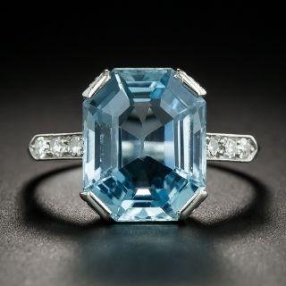 Art Deco 6.50 Carat Aquamarine and Diamond Ring by Granat Brothers - 2