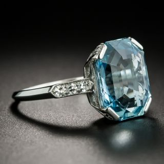 Art Deco 6.50 Carat Aquamarine and Diamond Ring by Granat Brothers