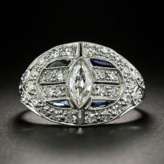 Art Deco .60 Carat Marquise-Cut Diamond and Calibre Sapphire Ring  - 2