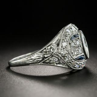 Art Deco .60 Carat Marquise-Cut Diamond and Calibre Sapphire Ring
