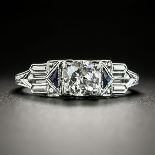Art Deco .65 Carat Diamond and Synthetic Sapphire Engagement Ring - 2