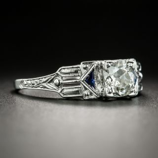 Art Deco .65 Carat Diamond and Synthetic Sapphire Engagement Ring