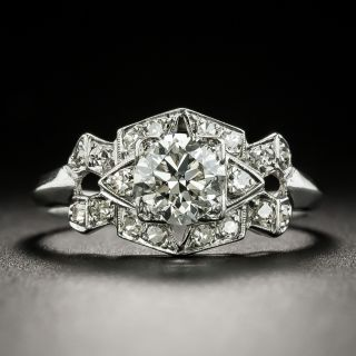 Art Deco .68 Carat Geometric Diamond Engagement Ring - 1