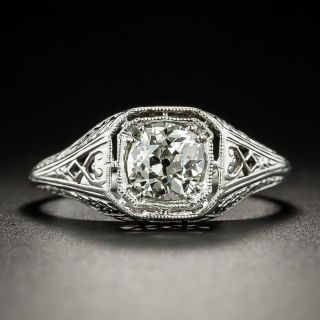 Art Deco .69 Carat Filigree Diamond Engagement Ring - 6