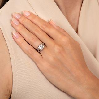 Art Deco .69 Carat Filigree Diamond Engagement Ring