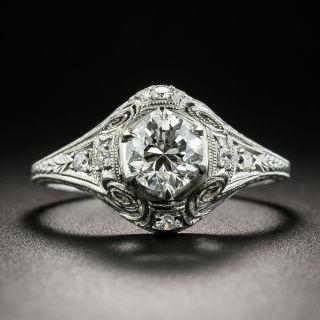 Art Deco .70 Carat Diamond Engagement Ring - GIA H VS2 - 2