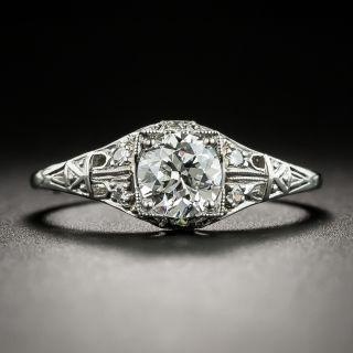 Art Deco .71 Carat Diamond Platinum Engagement Ring - GIA H SI1 - 2