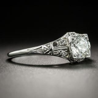 Art Deco .71 Carat Diamond Platinum Engagement Ring - GIA H SI1