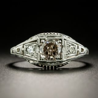 Art Deco .77 Carat Fancy Pink-Brown Diamond Engagement Ring by J.R. Wood - GIA - 2
