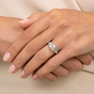 Art Deco .79 Carat Diamond Engagement Ring