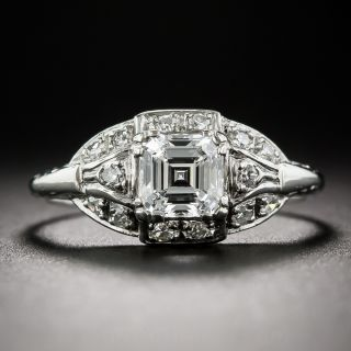Art Deco .79 Carat Square Emerald-Cut Diamond Ring - GIA E VVS2 - 1