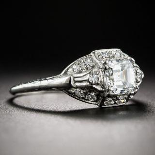 Art Deco .79 Carat Square Emerald-Cut Diamond Ring - GIA E VVS2