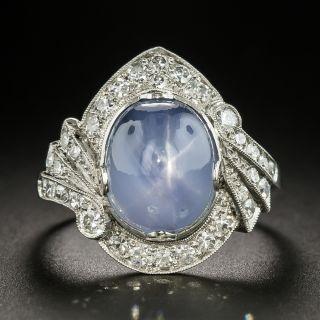 Art Deco 8.00 Carat Star Sapphire and Diamond Ring - 2