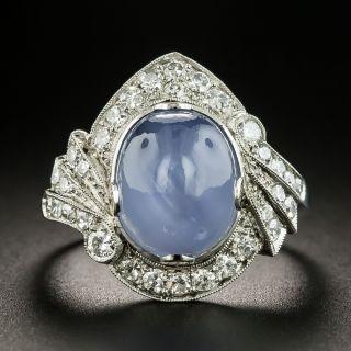Art Deco 8.00 Carat Star Sapphire and Diamond Ring