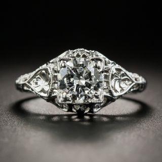 Art Deco .80 Carat Diamond Solitaire Engagement Ring - 2