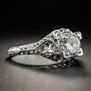 Art Deco .80 Carat Diamond Solitaire Engagement Ring