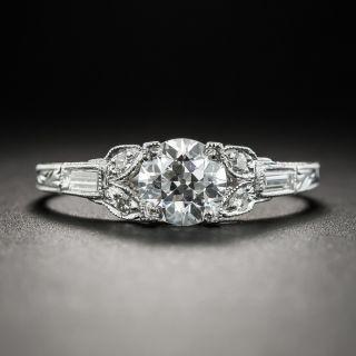 Art Deco .81 Carat Platinum Diamond Ring - GIA E VVS2 - 1
