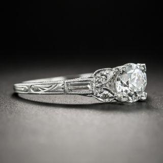 Art Deco .81 Carat Platinum Diamond Ring - GIA E VVS2