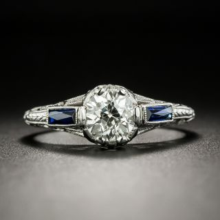 Art Deco .82 Carat Diamond and Synthetic Sapphire Engagement Ring - 2