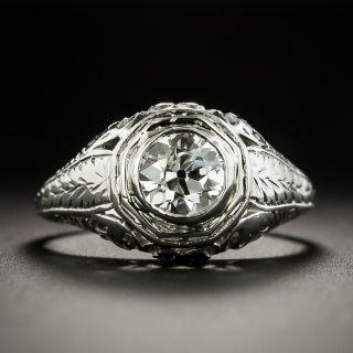 Art Deco .82 Carat Solitaire Diamond Ring by J.L. Herzog  - 1