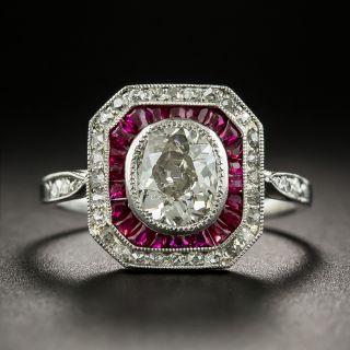 Art Deco .86 Carat Antique Oval Diamond and Ruby Platinum Ring - 2