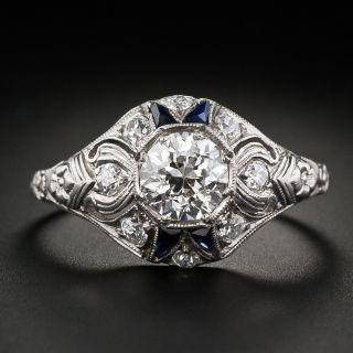 Art Deco .86 Carat Diamond and Sapphire Solitaire - GIA I VS1 - 1